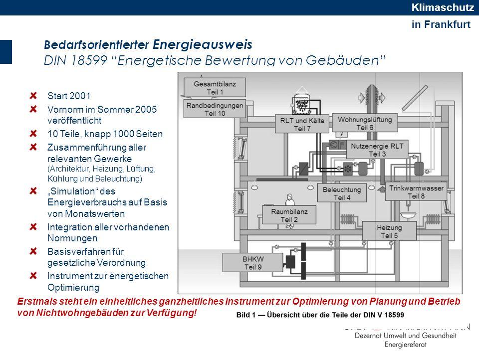 in Frankfurt Klimaschutz Bedarfsorientierter Energieausweis DIN 18599 Energetische Bewertung von Gebäuden Start 2001 Vornorm im Sommer 2005 veröffentl
