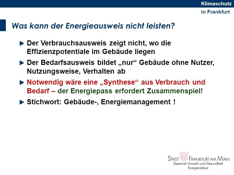in Frankfurt Klimaschutz Was kann der Energieausweis nicht leisten? Der Verbrauchsausweis zeigt nicht, wo die Effizienzpotentiale im Gebäude liegen De