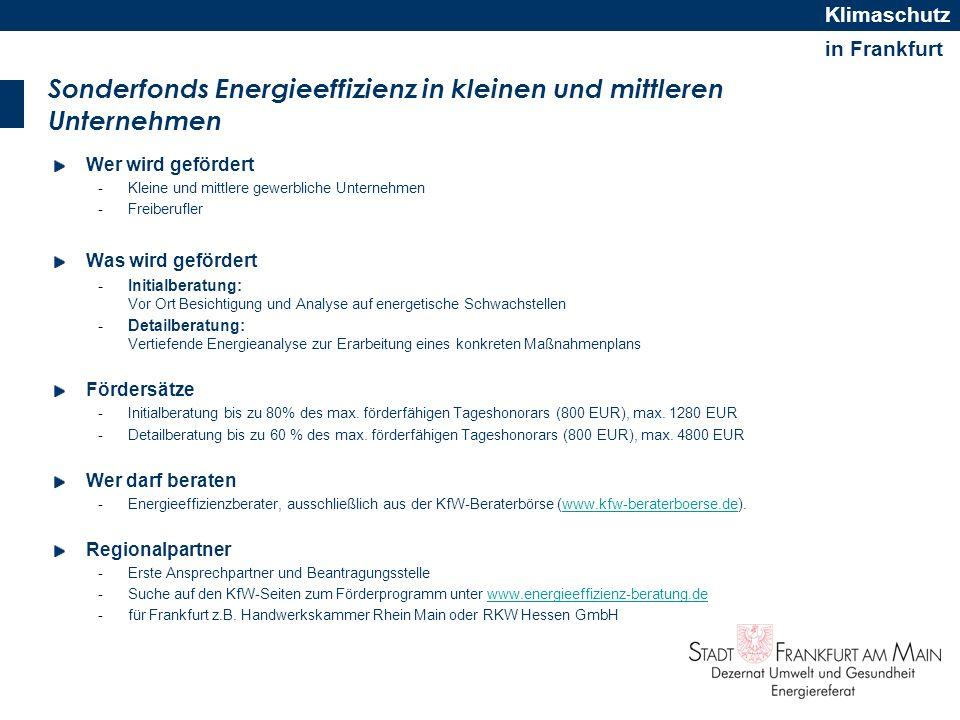 in Frankfurt Klimaschutz Sonderfonds Energieeffizienz in kleinen und mittleren Unternehmen Wer wird gefördert -Kleine und mittlere gewerbliche Unterne