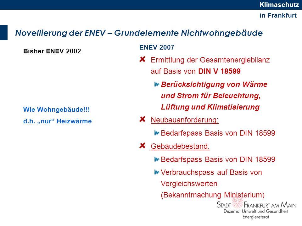 in Frankfurt Klimaschutz Novellierung der ENEV – Grundelemente Nichtwohngebäude Bisher ENEV 2002 Wie Wohngebäude!!! d.h. nur Heizwärme ENEV 2007 Ermit