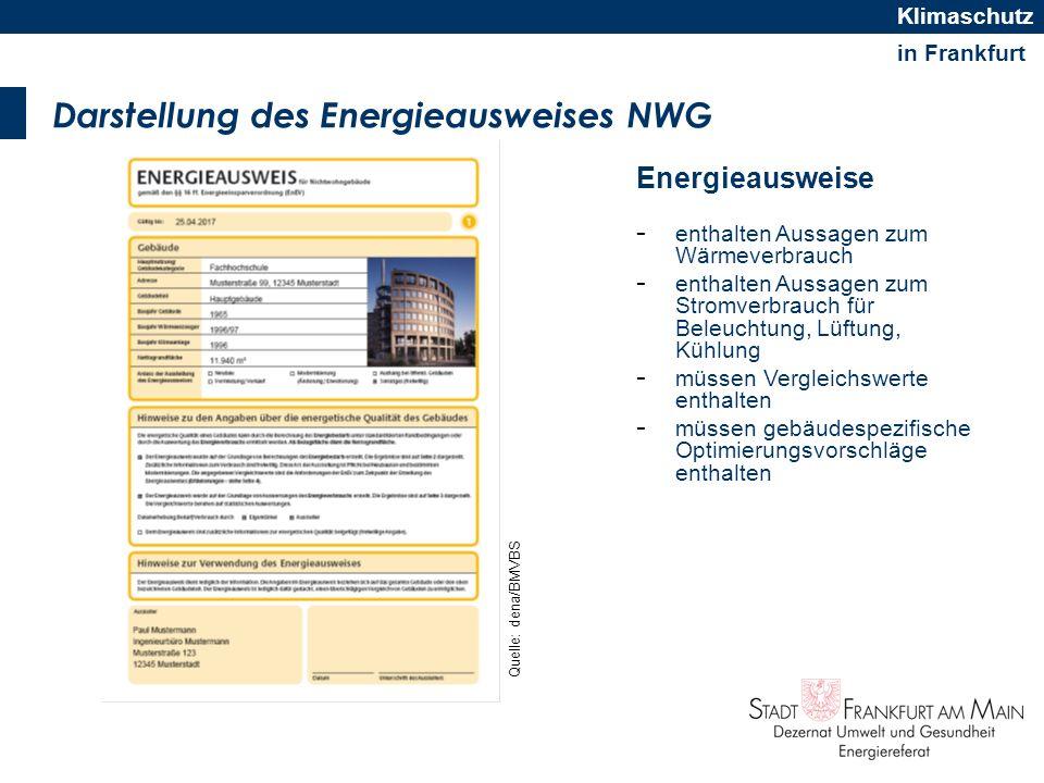 in Frankfurt Klimaschutz Verbrauchsausweis, Bedarfsausweis Verbrauchsausweis -Liegen gemessene Verbrauchswerte der letzten drei Abrechnungsperioden zugrunde -Ein von der Gebäudenutzung abhängiger Vergleichskennwert ermöglicht die energetische Einordnung -Vergleichskennwerte und weitere Informationen zum Rechenverfahren werden in einer Bekanntmachung des Bundesministeriums für Verkehr, Bau und Stadtentwicklung veröffentlicht + Geringe Kosten + Schnell und flächendeckend zu erstellen - Wenig Informationen über das Gebäude - Entsprechend sind die Sanierungs- /Maßnahmenvorschläge.
