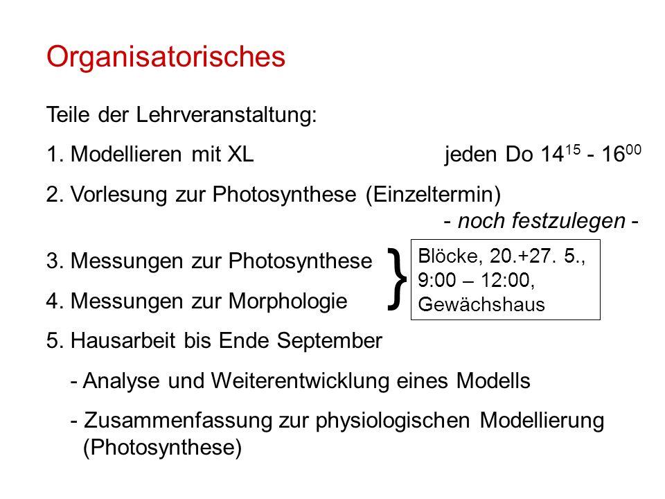 Organisatorisches Teile der Lehrveranstaltung: 1.Modellieren mit XLjeden Do 14 15 - 16 00 2.