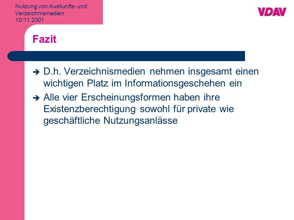 Nutzung von Auskunfts- und Verzeichnismedien 10/11.2001 Fazit D.h.