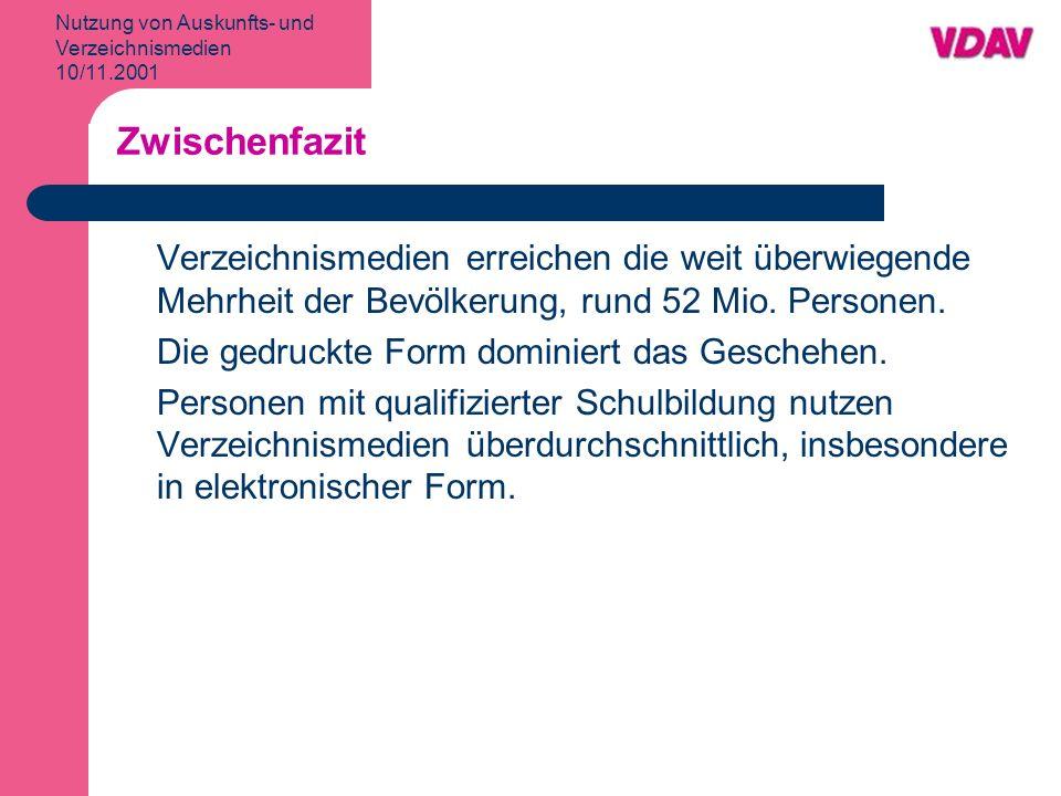 Nutzung von Auskunfts- und Verzeichnismedien 10/11.2001 Nutzungshäufigkeit von Verzeichnismedien Telefonauskunft Ipsos Okt./Nov.
