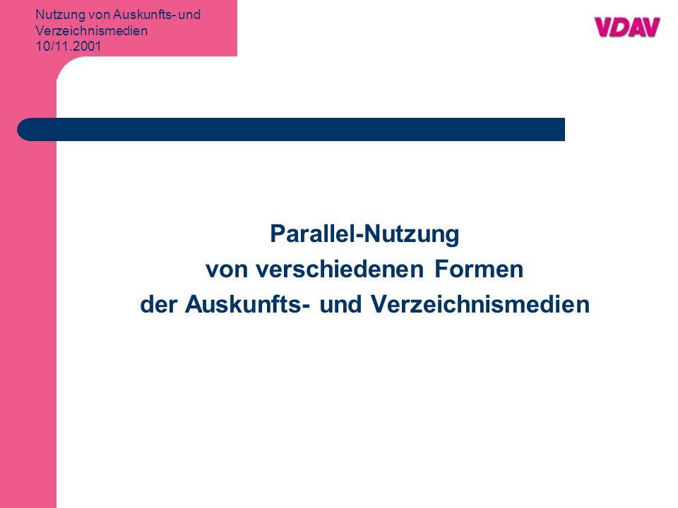 Nutzung von Auskunfts- und Verzeichnismedien 10/11.2001 Nutzung von Verzeichnismedien Parallel-Nutzung Ipsos Okt./Nov.