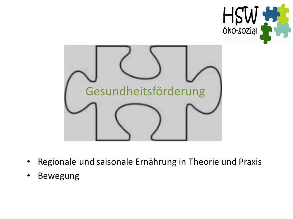 Gesundheitsförderung Regionale und saisonale Ernährung in Theorie und Praxis Bewegung