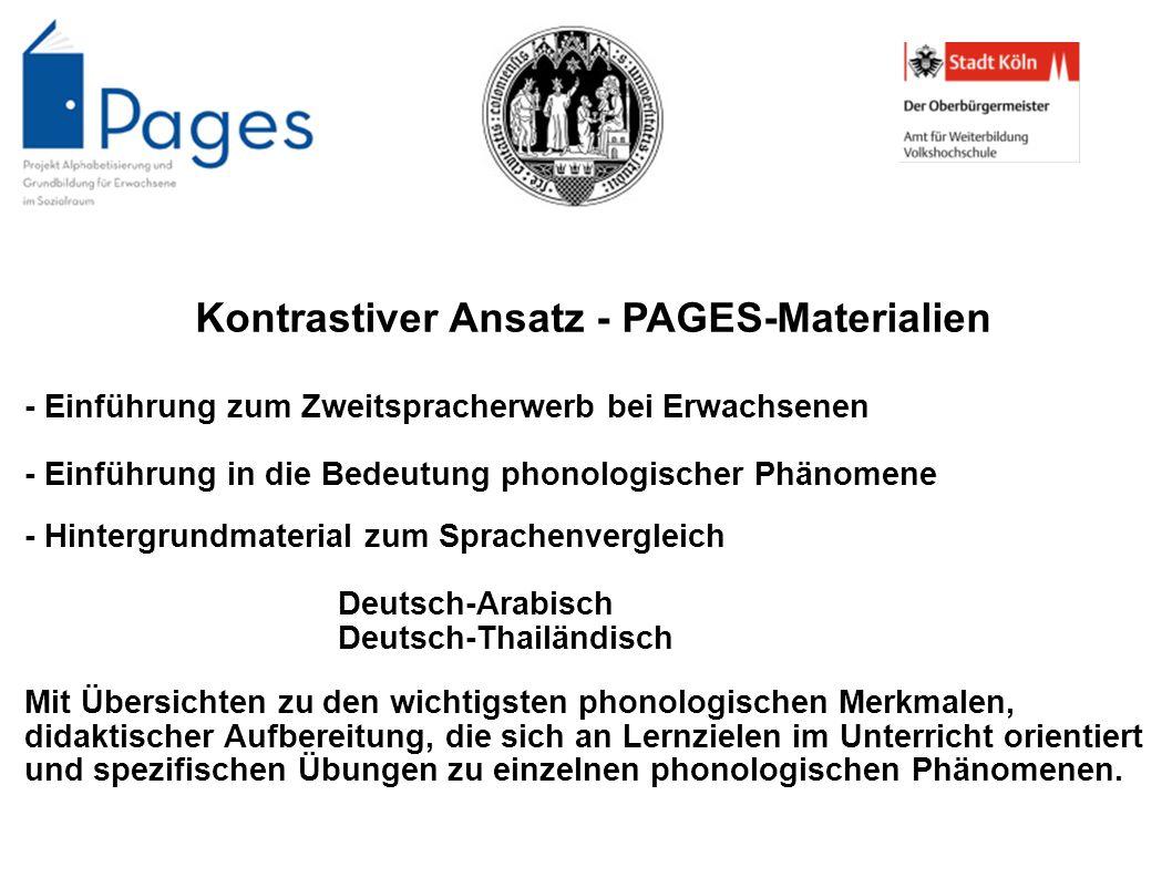 Kontrastiver Ansatz - PAGES-Materialien - Einführung zum Zweitspracherwerb bei Erwachsenen - Einführung in die Bedeutung phonologischer Phänomene - Hi