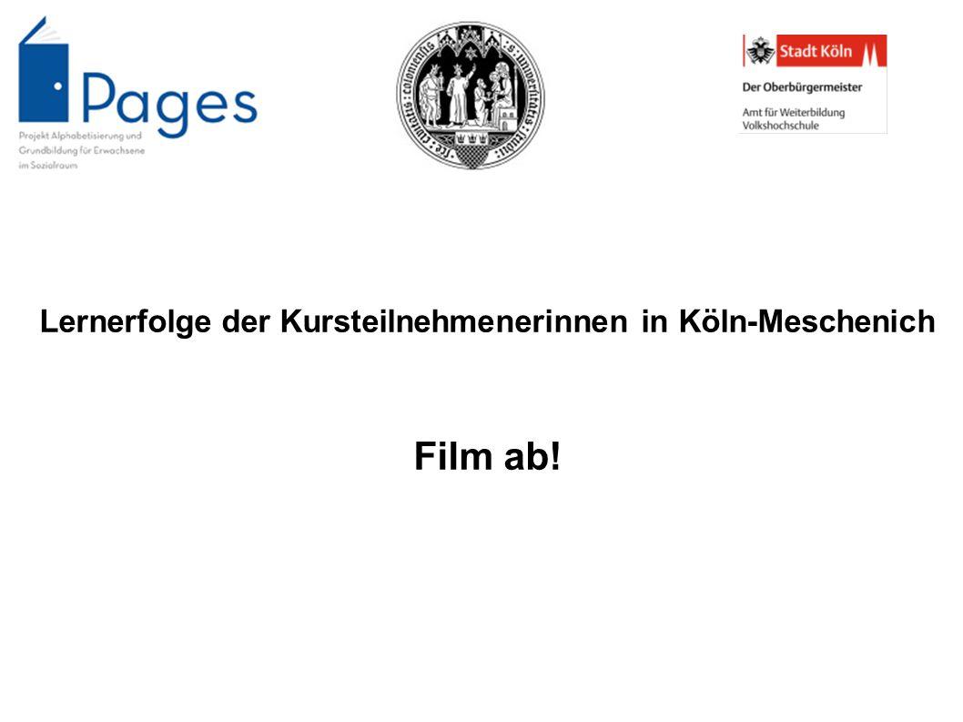Lernerfolge der Kursteilnehmenerinnen in Köln-Meschenich Film ab!