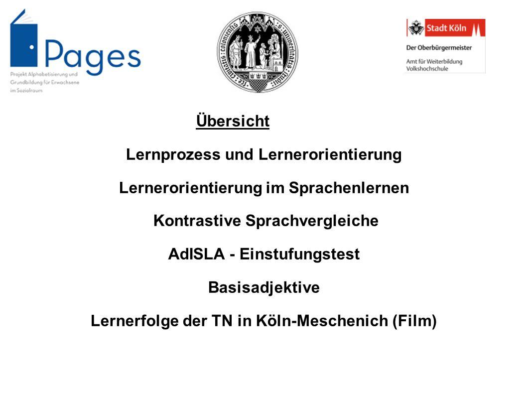 Übersicht Lernprozess und Lernerorientierung Lernerorientierung im Sprachenlernen Kontrastive Sprachvergleiche AdISLA - Einstufungstest Basisadjektive