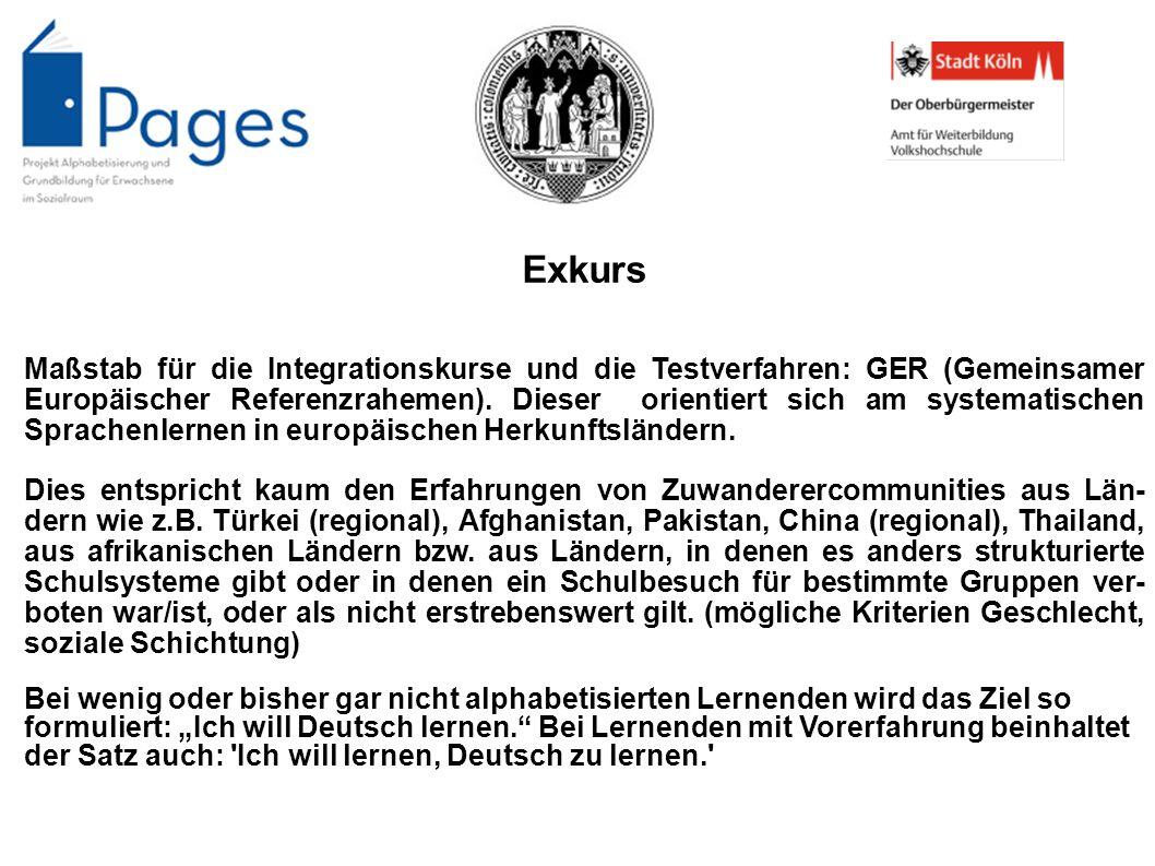 Exkurs Maßstab für die Integrationskurse und die Testverfahren: GER (Gemeinsamer Europäischer Referenzrahemen). Dieser orientiert sich am systematisch