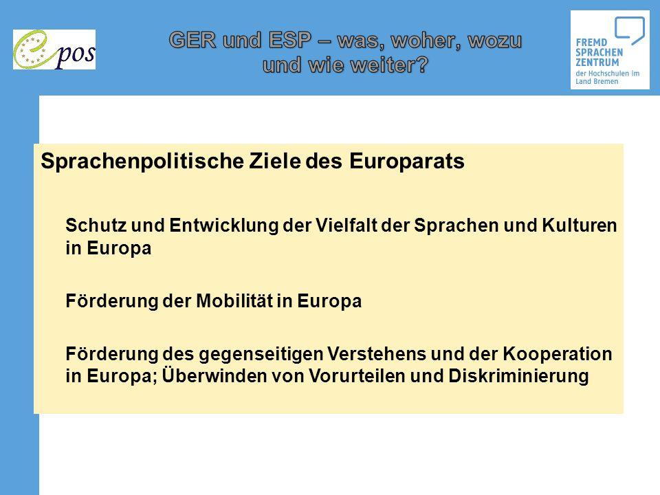 Sprachenpolitische Ziele des Europarats Schutz und Entwicklung der Vielfalt der Sprachen und Kulturen in Europa Förderung der Mobilität in Europa Förd