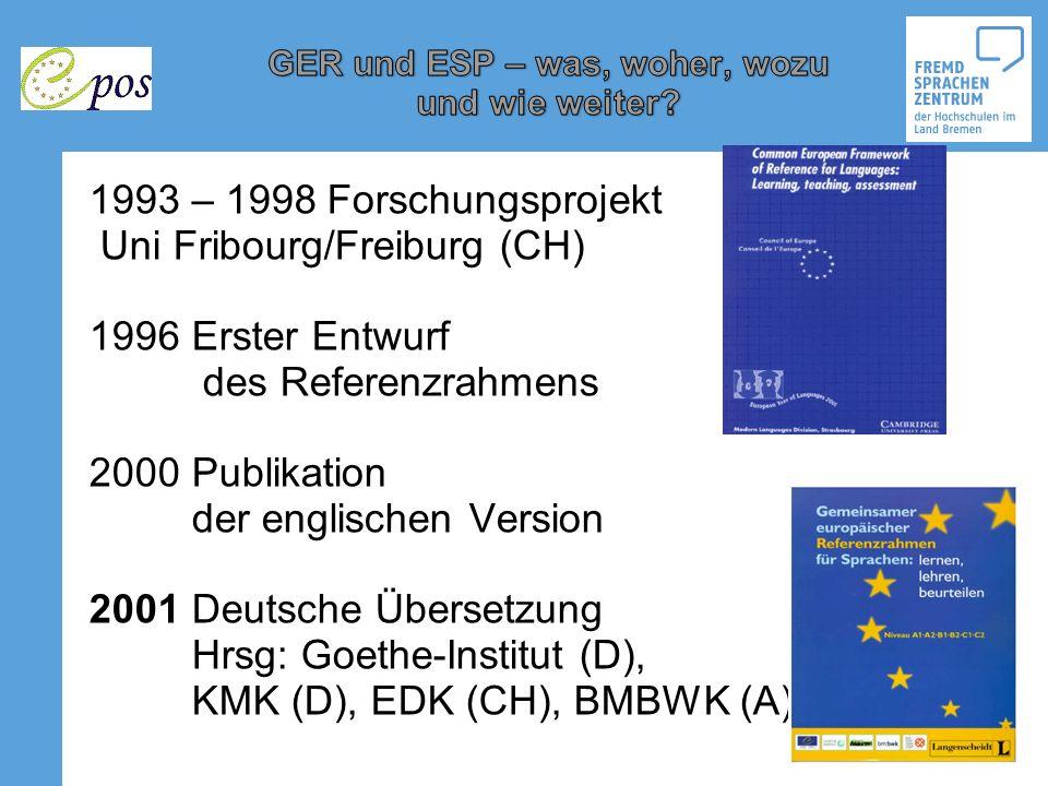 1993 – 1998 Forschungsprojekt Uni Fribourg/Freiburg (CH) 1996 Erster Entwurf des Referenzrahmens 2000 Publikation der englischen Version 2001 Deutsche