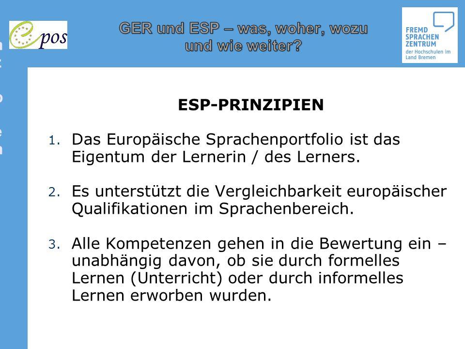 ESP-PrinzipienESP-Prinzipien ESP-PRINZIPIEN 1. Das Europäische Sprachenportfolio ist das Eigentum der Lernerin / des Lerners. 2. Es unterstützt die Ve