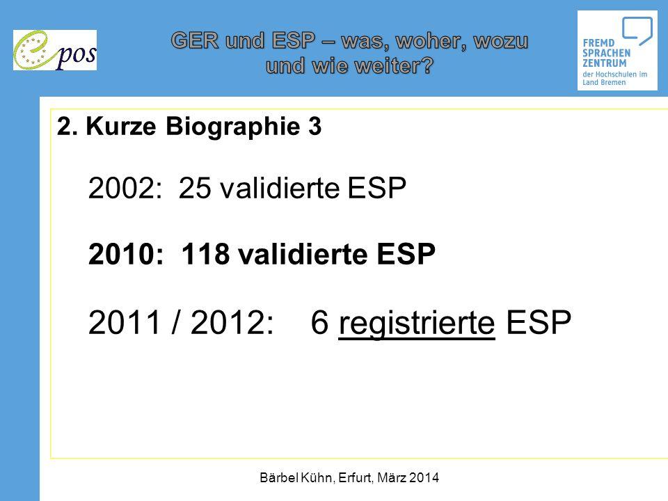 2. Kurze Biographie 3 2002: 25 validierte ESP 2010: 118 validierte ESP 2011 / 2012: 6 registrierte ESP Bärbel Kühn, Erfurt, März 2014
