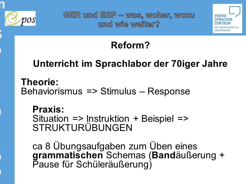 Reform der ReformReform der Reform Reform der Reform: Kommunikative Kompetenz als übergeordnetes Lernziel Hans-Eberhardt Piepho, 1929 – 2004) Pädagogische Orientierung Pragmatische Orientierung