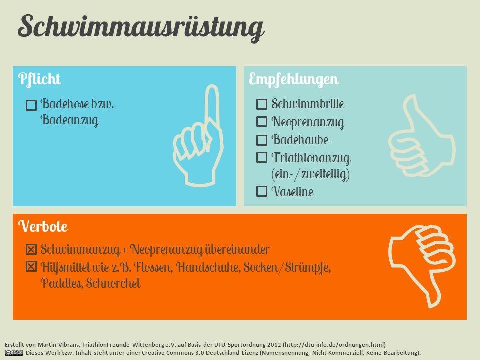 Pflicht Schwimmausrüstung Erstellt von Martin Vibrans, TriathlonFreunde Wittenberg e.V. auf Basis der DTU Sportordnung 2012 (http://dtu-info.de/ordnun