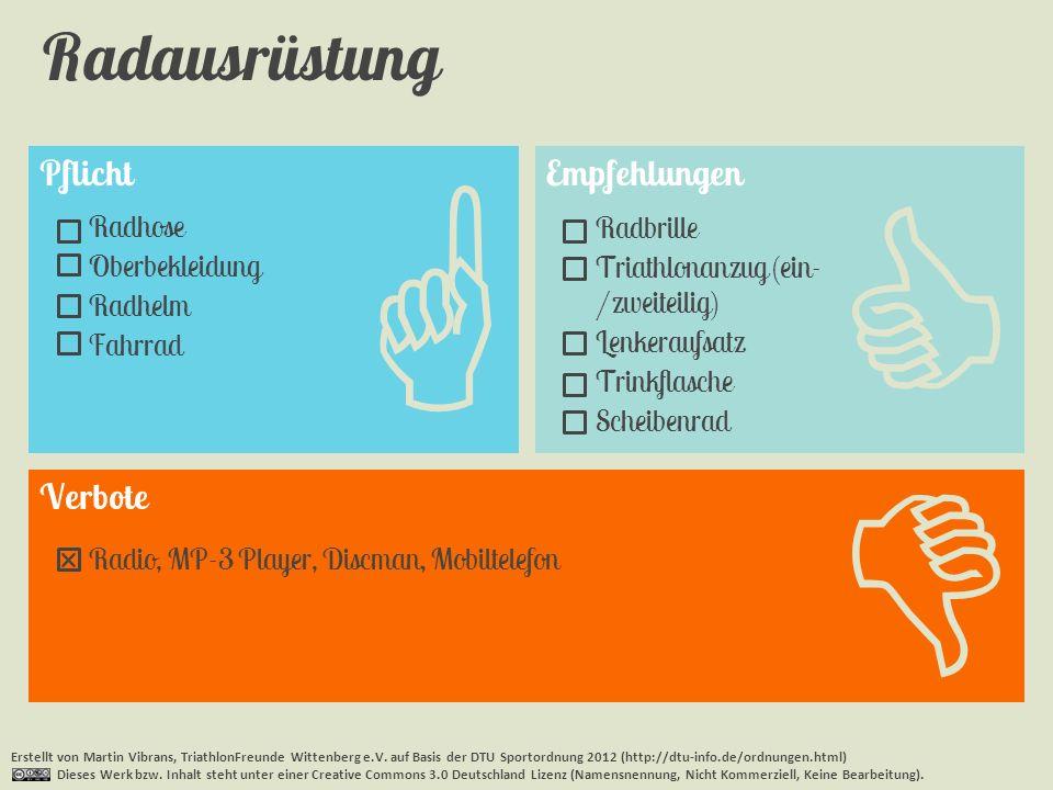 Pflicht Radausrüstung Erstellt von Martin Vibrans, TriathlonFreunde Wittenberg e.V. auf Basis der DTU Sportordnung 2012 (http://dtu-info.de/ordnungen.