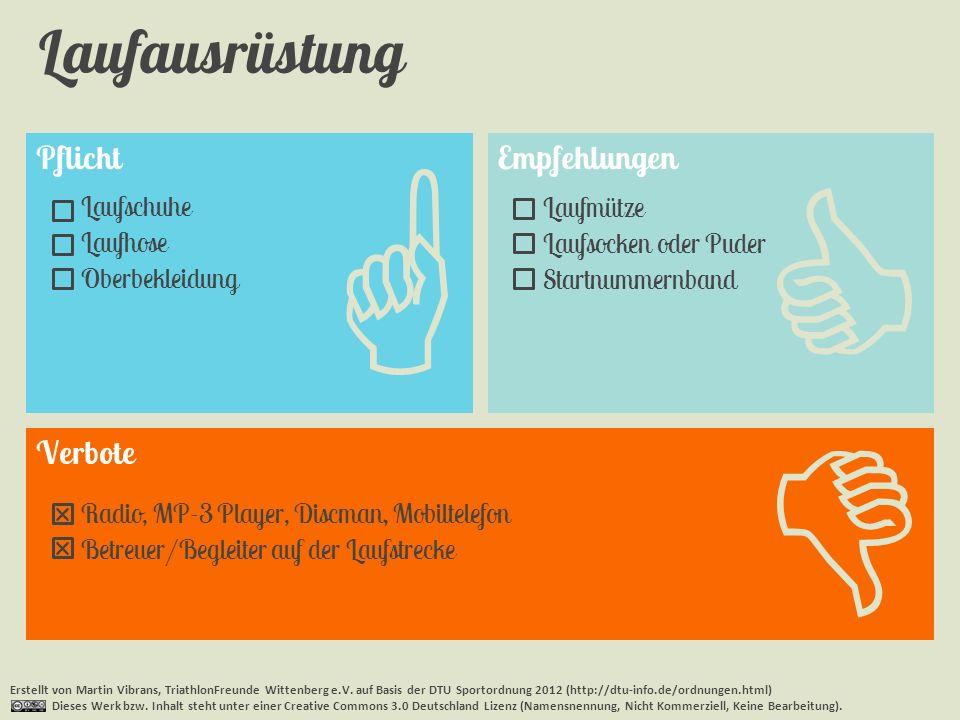 Pflicht Laufausrüstung Erstellt von Martin Vibrans, TriathlonFreunde Wittenberg e.V. auf Basis der DTU Sportordnung 2012 (http://dtu-info.de/ordnungen