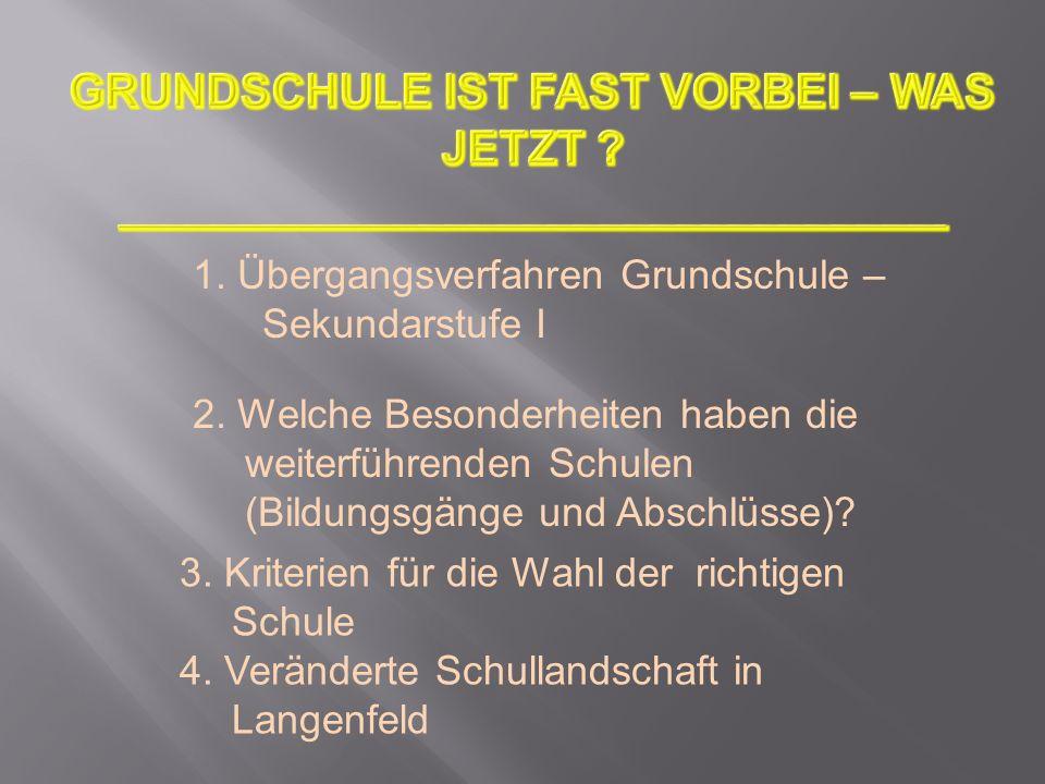 (Hauptschule) Realschule Gymnasium Gesamtschule (ab 2013/14 zwei in Langenfeld) Sekundarschule (seit 2011 in NRW 12 Schulen, in Langenfeld keine)
