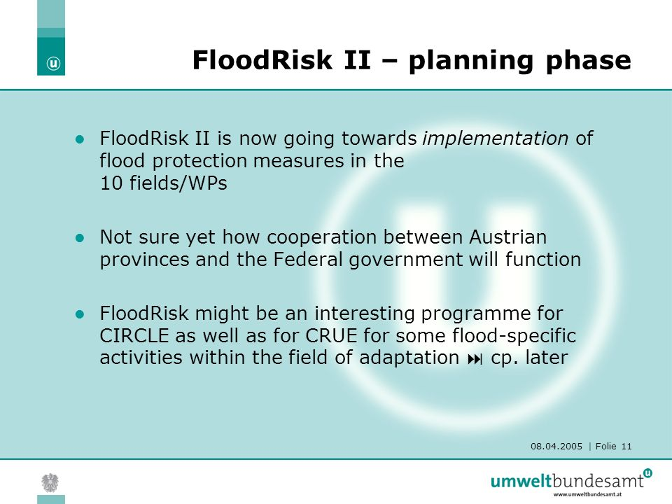 08.04.2005 | Folie 11 FloodRisk II – planning phase FloodRisk II is now going towards implementation of flood protection measures in the 10 fields/WPs