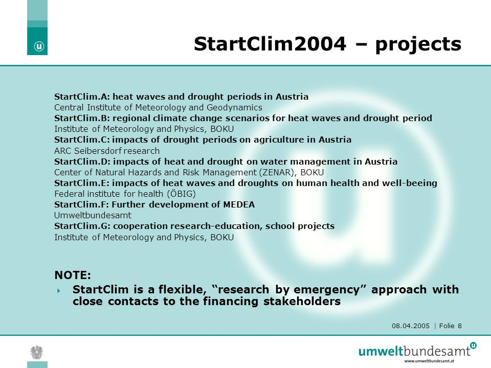 08.04.2005 | Folie 9 FloodRisk Came up with Flood analyses 2002 Focus: adaptation towards flood events Geographical focus: Danube (and tributaries) catchment 45 small projects in 10 different WPs Most of the projects already existed No requests for proposals Over one million EURO funding was provided by two Austrian ministries (BMLFUW and BMVIT) and one Swiss organisation (DEZA)