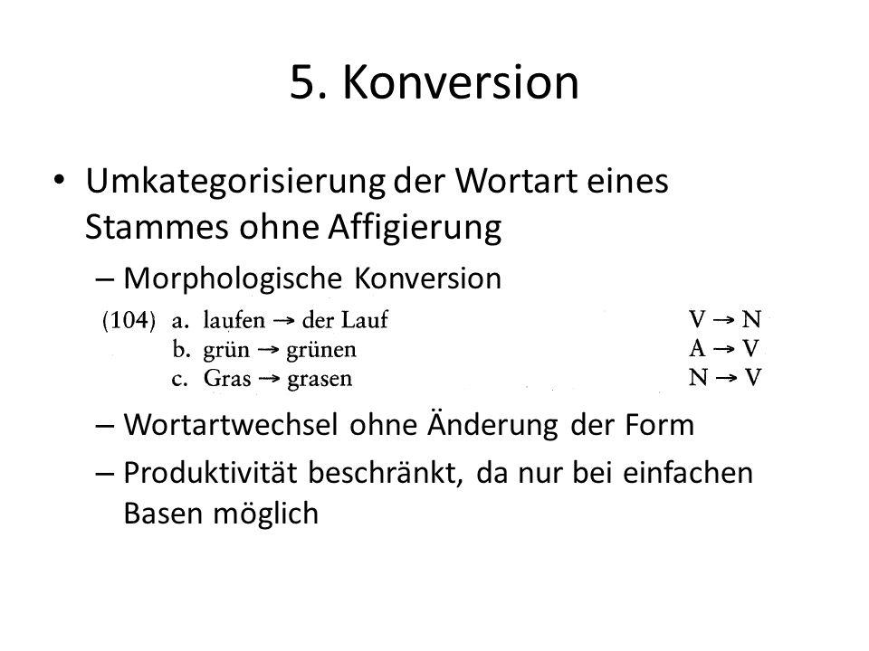 5. Konversion Umkategorisierung der Wortart eines Stammes ohne Affigierung – Morphologische Konversion – Wortartwechsel ohne Änderung der Form – Produ