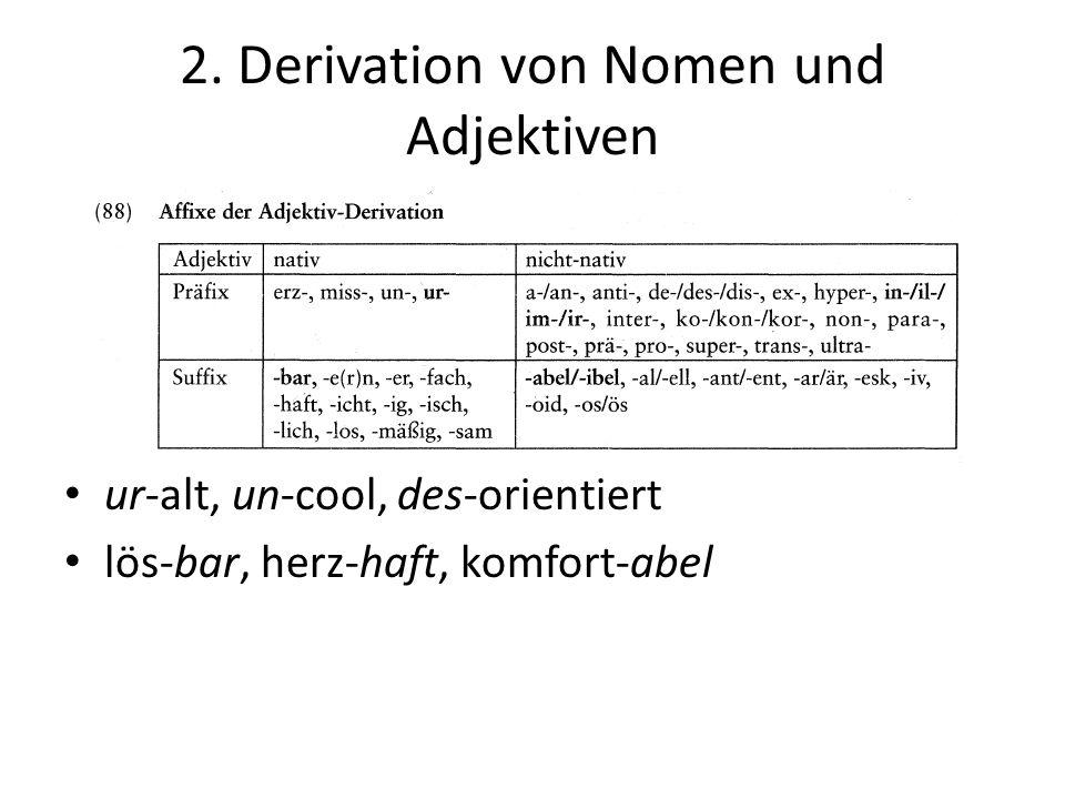 2. Derivation von Nomen und Adjektiven ur-alt, un-cool, des-orientiert lös-bar, herz-haft, komfort-abel
