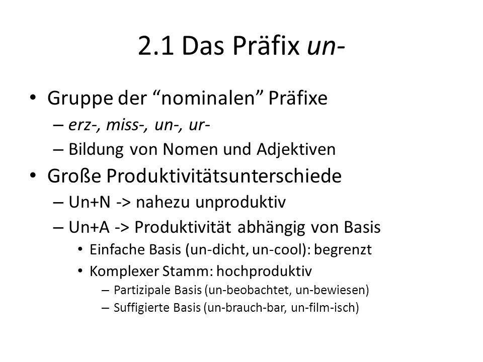 2.1 Das Präfix un- Gruppe der nominalen Präfixe – erz-, miss-, un-, ur- – Bildung von Nomen und Adjektiven Große Produktivitätsunterschiede – Un+N ->