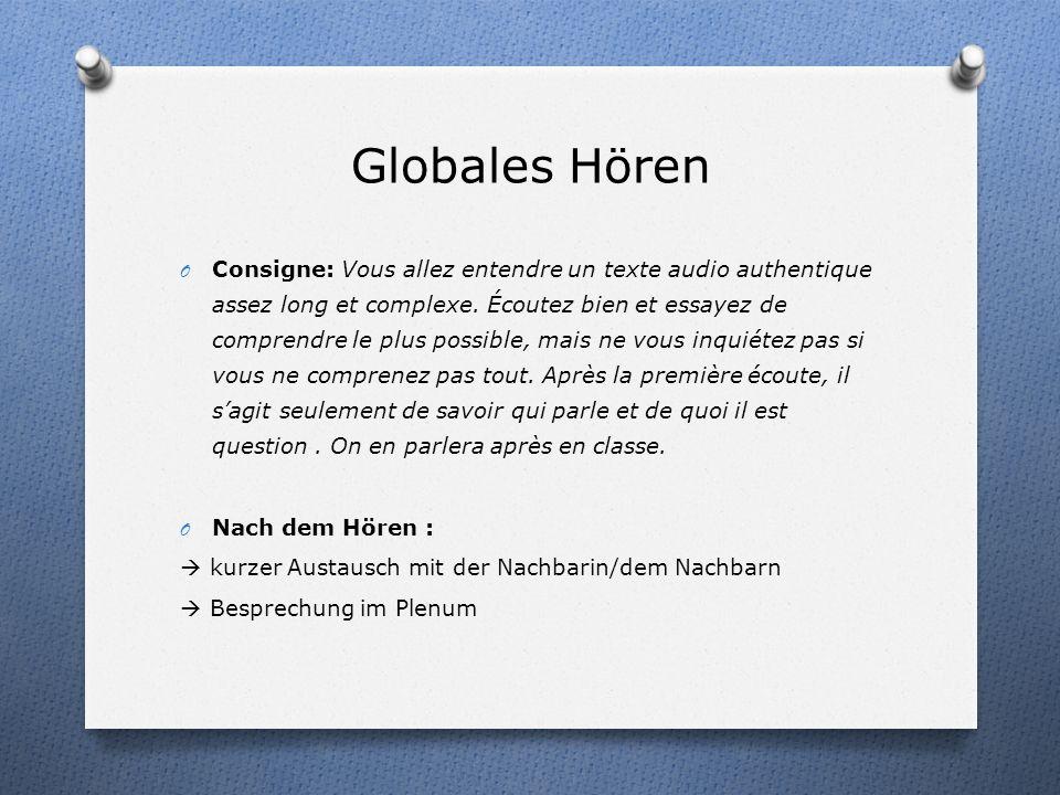 Hörtext: Ablauf O Globales Hören O Inhaltsorientiertes Hören Exercice 1 : Questionnaire à choix multiples Exercice 2: Questions O Formorientiertes Hör