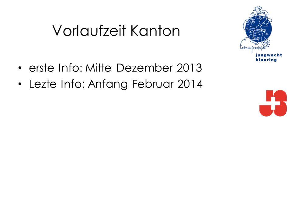 Vorlaufzeit Kanton erste Info: Mitte Dezember 2013 Lezte Info: Anfang Februar 2014