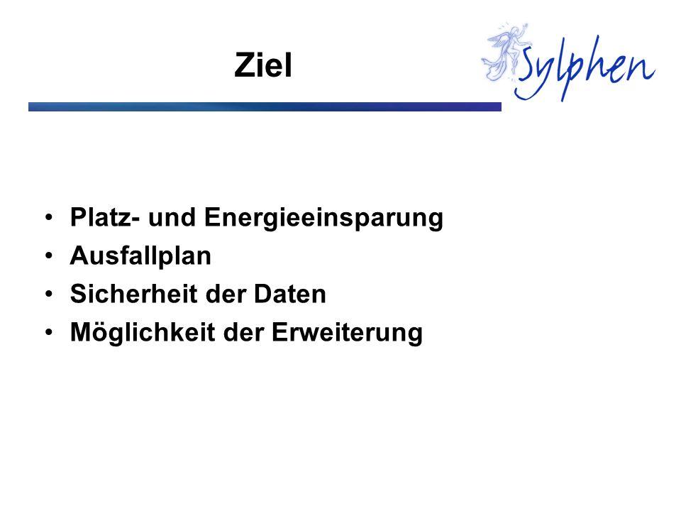Ziel Platz- und Energieeinsparung Ausfallplan Sicherheit der Daten Möglichkeit der Erweiterung