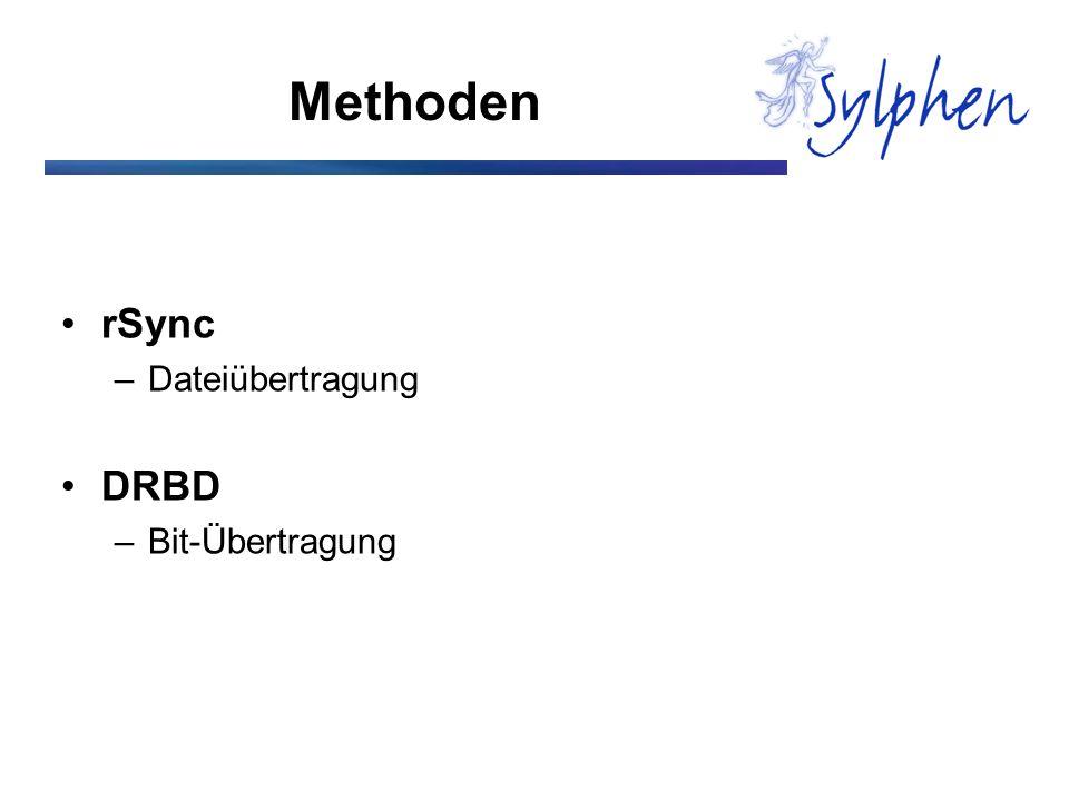 Methoden rSync –Dateiübertragung DRBD –Bit-Übertragung