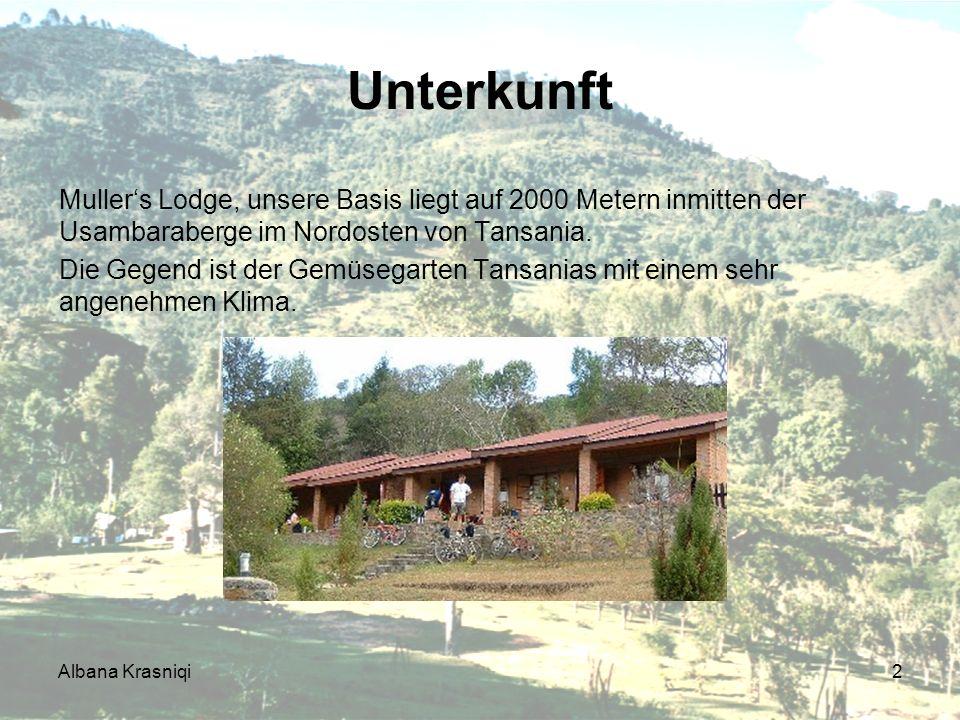 Unterkunft Mullers Lodge, unsere Basis liegt auf 2000 Metern inmitten der Usambaraberge im Nordosten von Tansania. Die Gegend ist der Gemüsegarten Tan