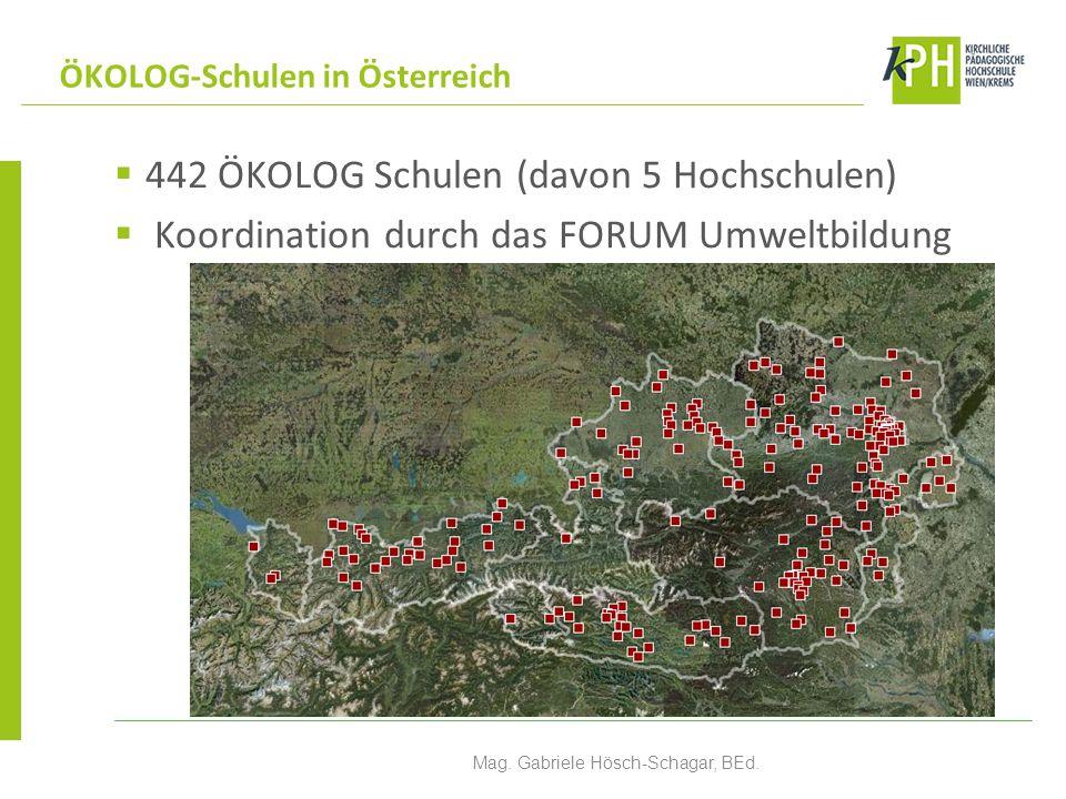 442 ÖKOLOG Schulen (davon 5 Hochschulen) Koordination durch das FORUM Umweltbildung ÖKOLOG-Schulen in Österreich Mag.