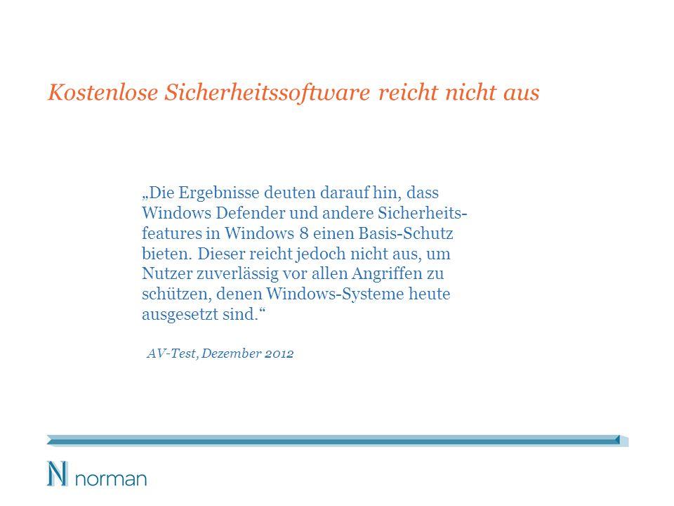Die Ergebnisse deuten darauf hin, dass Windows Defender und andere Sicherheits- features in Windows 8 einen Basis-Schutz bieten. Dieser reicht jedoch