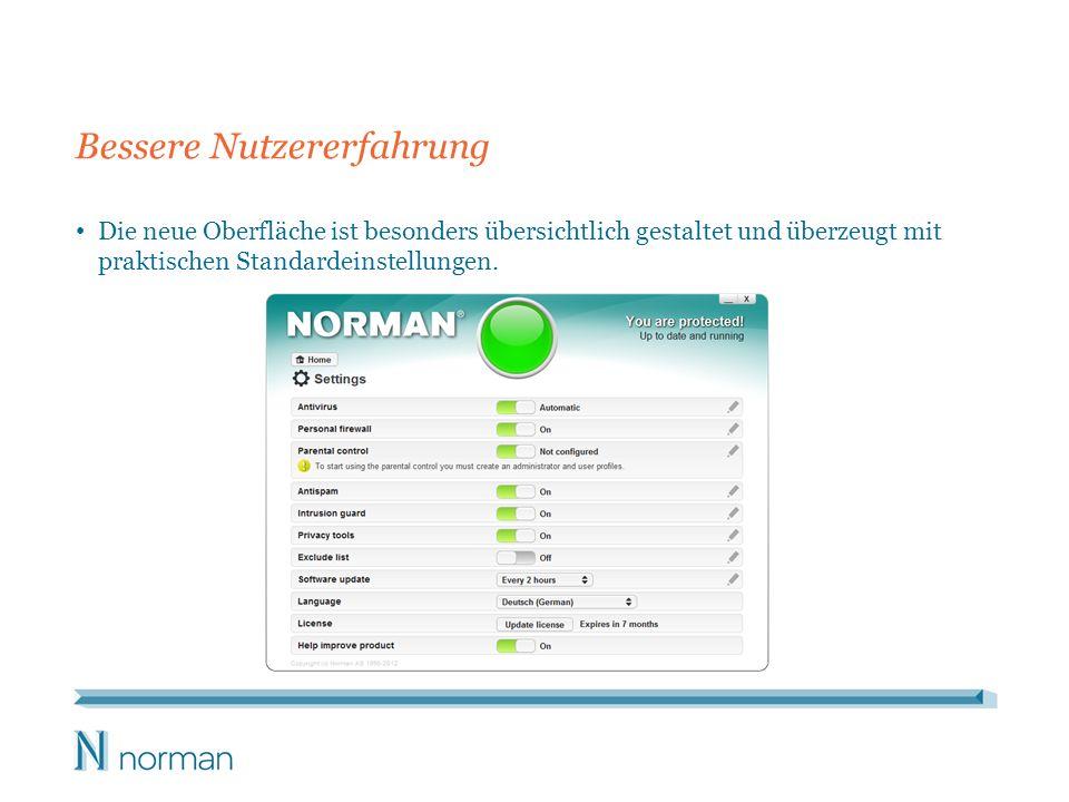 Bessere Nutzererfahrung Die neue Oberfläche ist besonders übersichtlich gestaltet und überzeugt mit praktischen Standardeinstellungen.