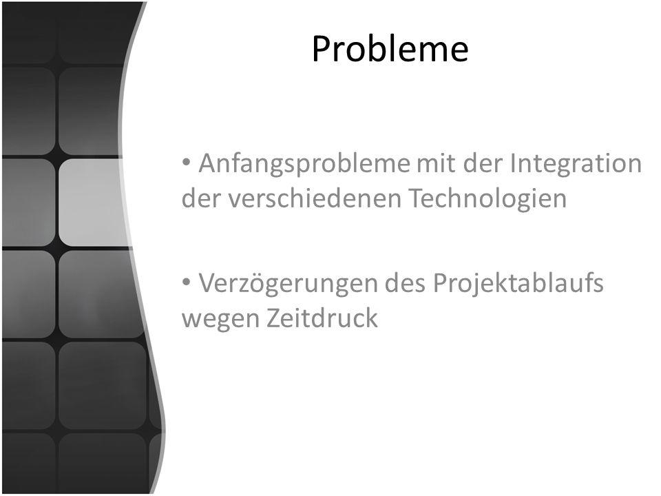 Probleme Anfangsprobleme mit der Integration der verschiedenen Technologien Verzögerungen des Projektablaufs wegen Zeitdruck