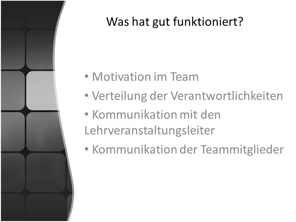 Was hat gut funktioniert? Motivation im Team Verteilung der Verantwortlichkeiten Kommunikation mit den Lehrveranstaltungsleiter Kommunikation der Team