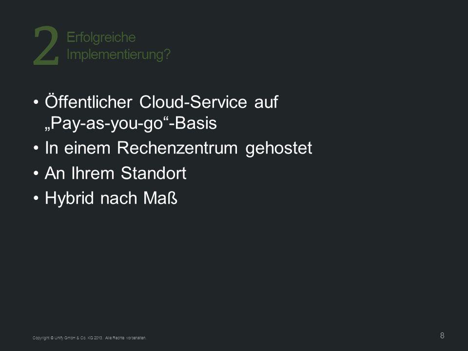 8 Öffentlicher Cloud-Service auf Pay-as-you-go-Basis In einem Rechenzentrum gehostet An Ihrem Standort Hybrid nach Maß Erfolgreiche Implementierung.