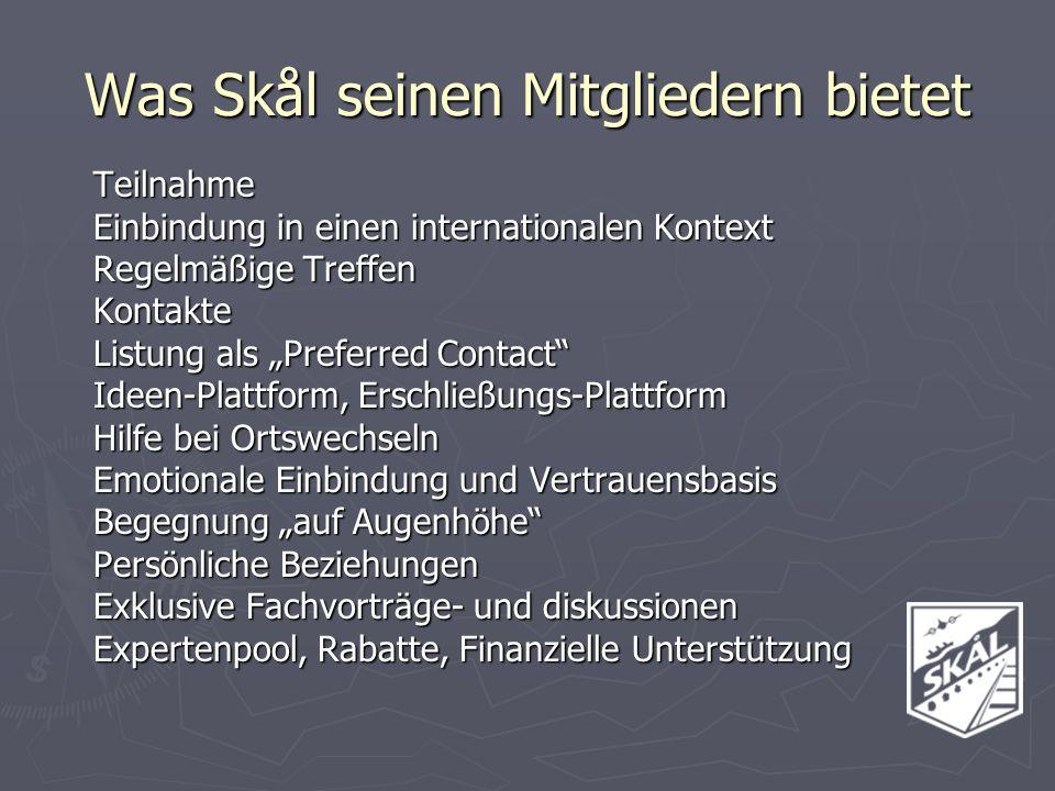 Teilnahme Einbindung in einen internationalen Kontext Regelmäßige Treffen Kontakte Listung als Preferred Contact Ideen-Plattform, Erschließungs-Plattf