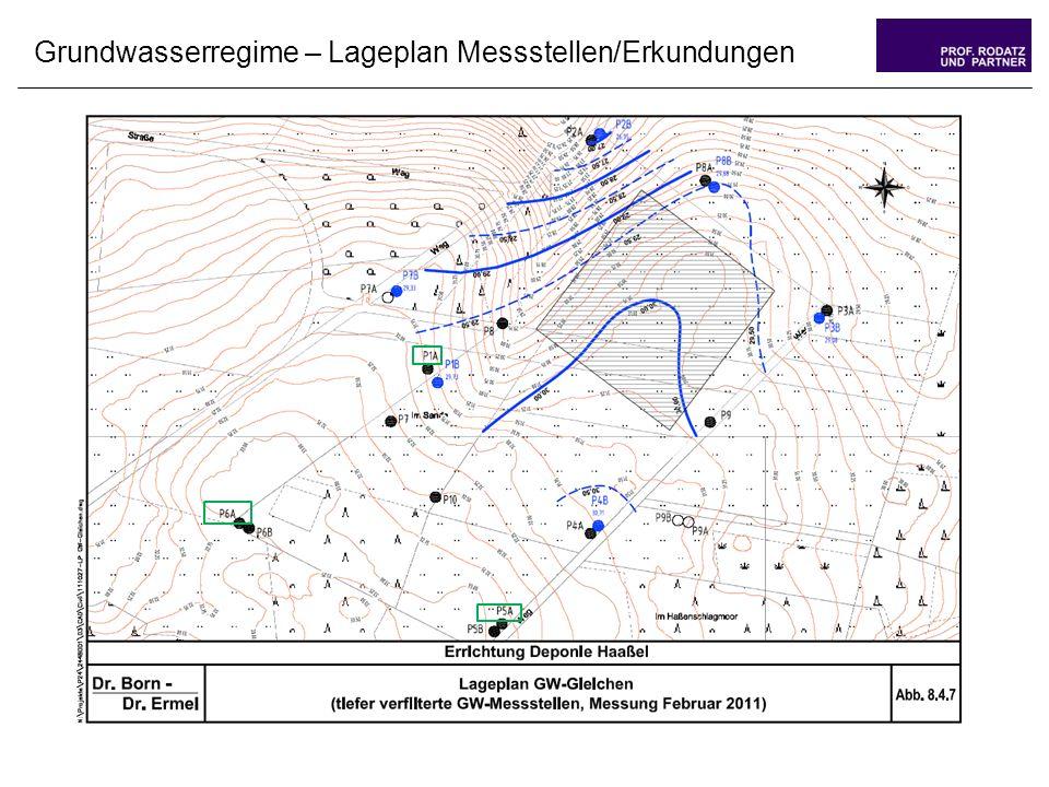 Grundwasserregime – Lageplan Messstellen/Erkundungen