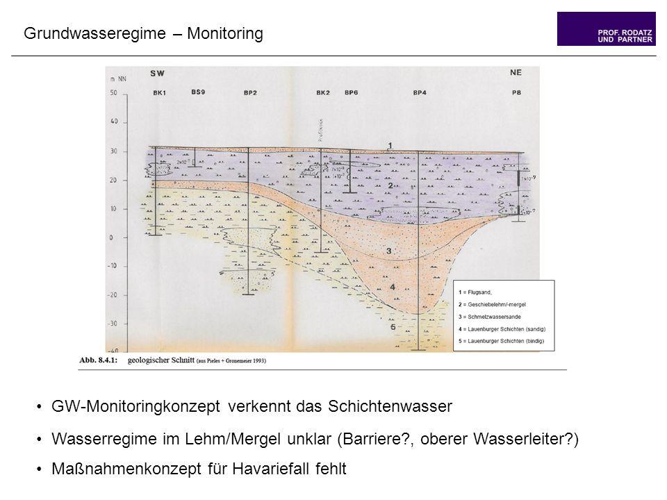 Grundwasseregime – Monitoring GW-Monitoringkonzept verkennt das Schichtenwasser Wasserregime im Lehm/Mergel unklar (Barriere , oberer Wasserleiter ) Maßnahmenkonzept für Havariefall fehlt