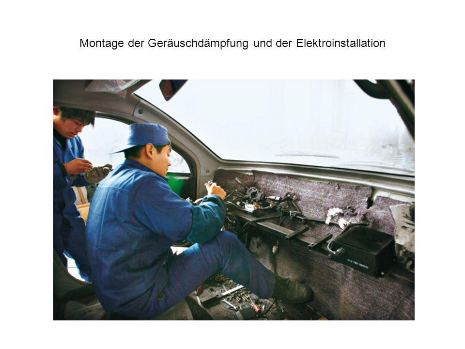 Montage der Geräuschdämpfung und der Elektroinstallation