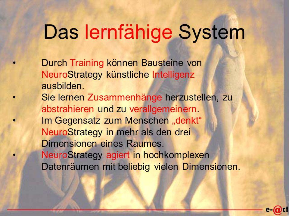 Das lernfähige System Durch Training können Bausteine von NeuroStrategy künstliche Intelligenz ausbilden.