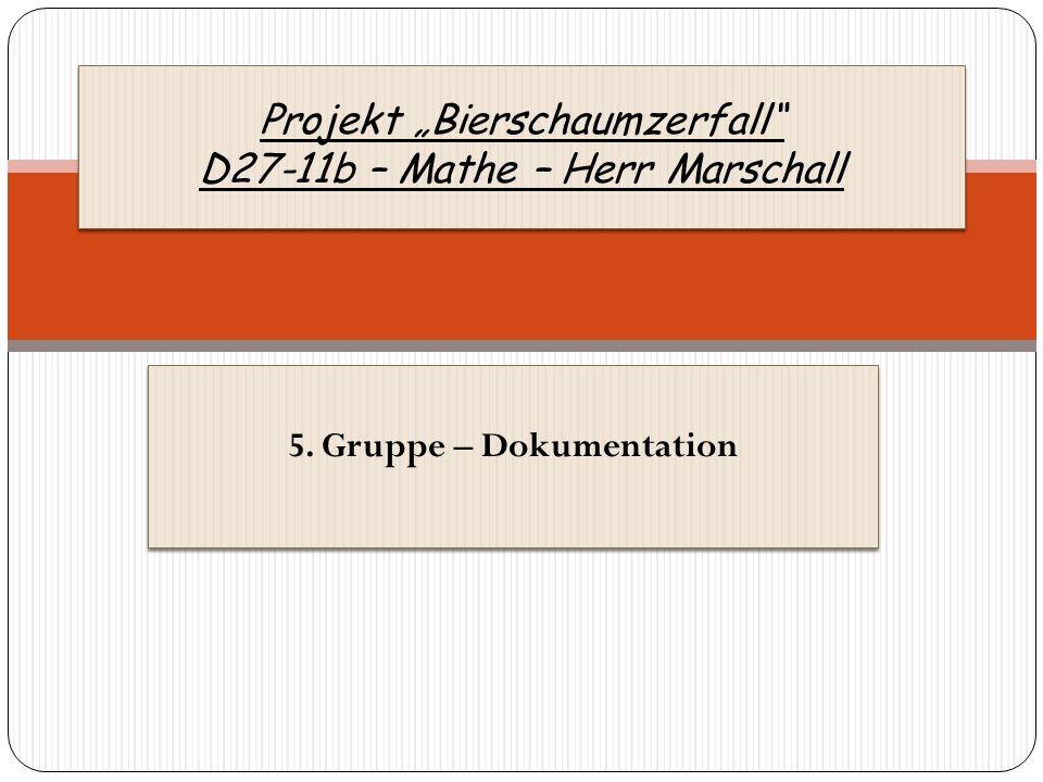 5. Gruppe – Dokumentation Projekt Bierschaumzerfall D27-11b – Mathe – Herr Marschall