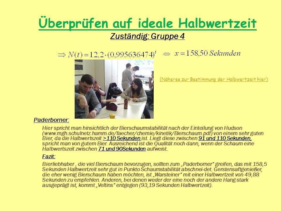 Überprüfen auf ideale Halbwertzeit Zuständig: Gruppe 4 Paderborner: Hier spricht man hinsichtlich der Bierschaumstabilität nach der Einteilung von Hud