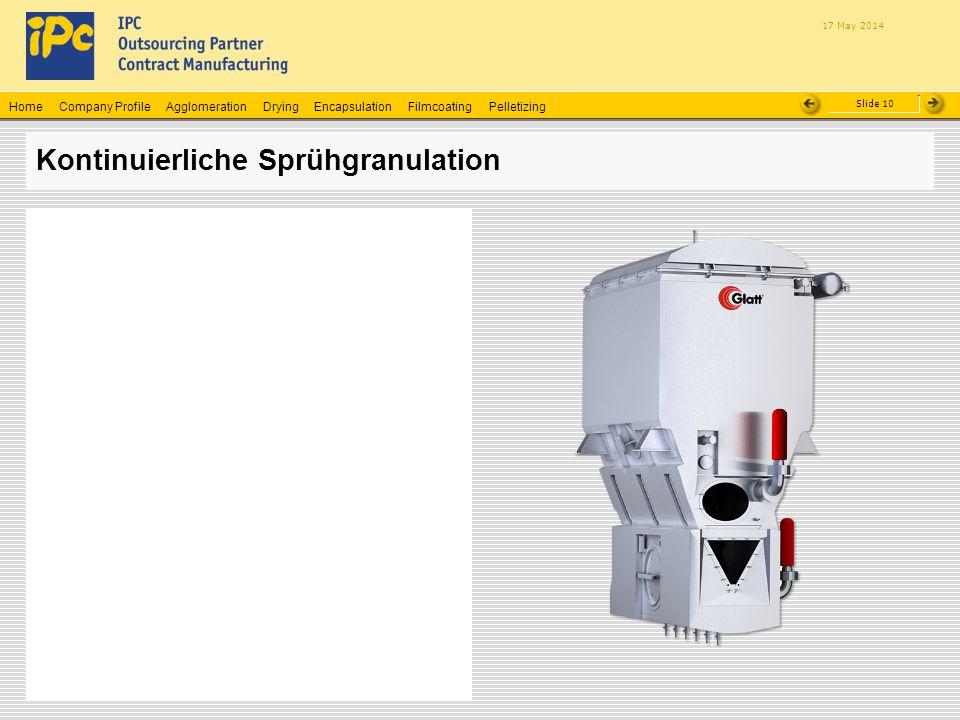 Company ProfileHomeAgglomerationEncapsulationFilmcoatingPelletizingDrying Slide 10 17 May 2014 Kontinuierliche Sprühgranulation