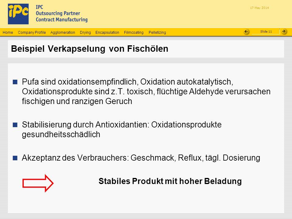 Company ProfileHomeAgglomerationEncapsulationFilmcoatingPelletizingDrying Slide 11 17 May 2014 Beispiel Verkapselung von Fischölen Pufa sind oxidation