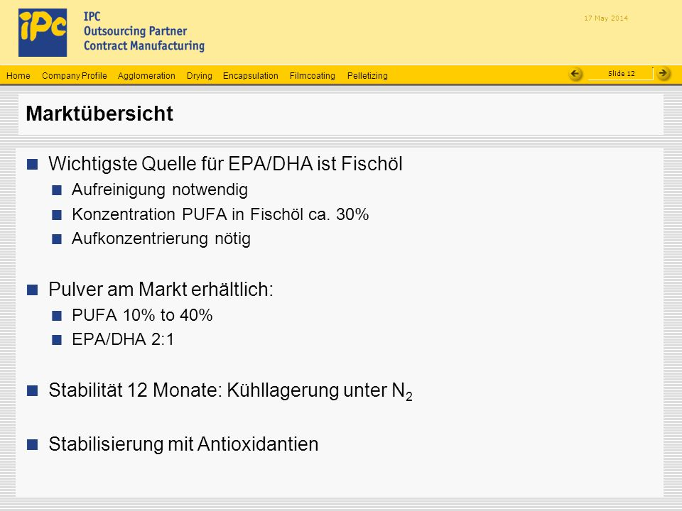 Company ProfileHomeAgglomerationEncapsulationFilmcoatingPelletizingDrying Slide 12 17 May 2014 Marktübersicht Wichtigste Quelle für EPA/DHA ist Fischö