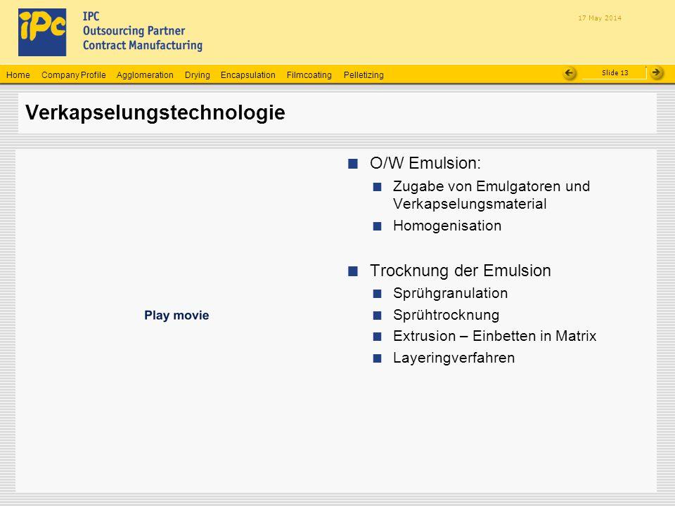 Company ProfileHomeAgglomerationEncapsulationFilmcoatingPelletizingDrying Slide 13 17 May 2014 Verkapselungstechnologie O/W Emulsion: Zugabe von Emulg